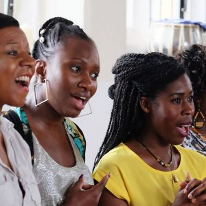 Bristol community choir learning South African songs as part of Africa Eye Film Festival © Tony Tough Photography