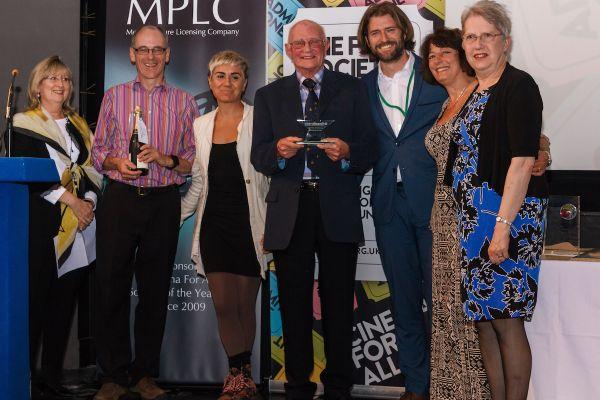 The Fleet Film team receiving the Filmbank award for best new film society in 2015