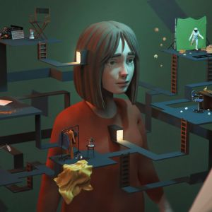 animated image of a girl surrounded by a maze of platforms and lights