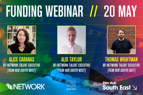 Decorative Graphic Image for South West and South East Funding Webinar. A colourful background has three headshots in the middle, of two women and a man. The title reads 'funding webinar: 20 may