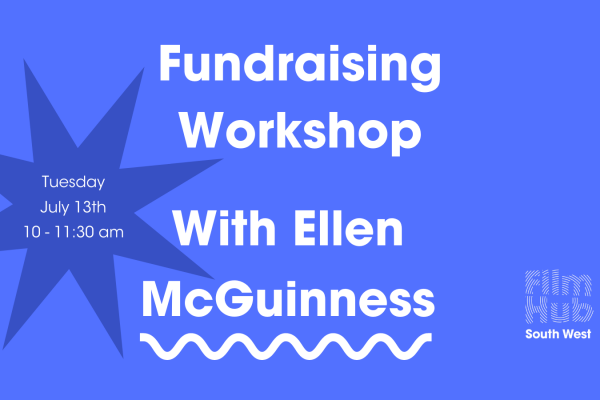 decorative blue image. white text reads 'fundraising workshop with Ellen McGuinness'.