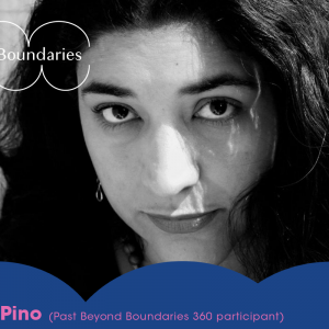 Graphic image. Headshot of Lorena Pino. Black and white image of her looking straight at camera, Lorena has long black hair and lined eye makeup.