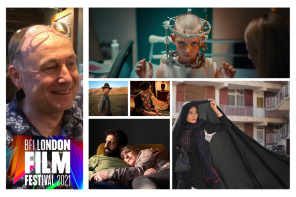6 frames of images, with the BFI LONDON FILM FESTIVAL 2021 logo overlaid. One image is of Mark Cosgrove, a smiling man in a printed shirt at the bar. To the right are 5 stills form various films , of peoples faces.